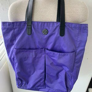 "Lululemon Purple Tote Yoga Bag 19x18"". Has stains"